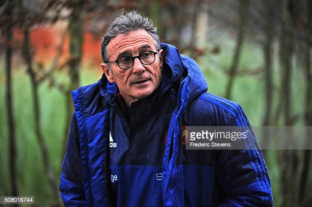 New France head coach Guy Noves arrives for a training session at National Center of french rugby in Marcoussis on February 2 2016 in Paris France...