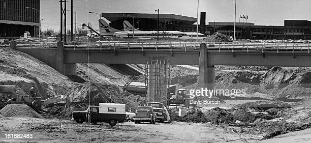 APR 22 1970 New Freeway Route to Stapleton Taking Shape Rapidly This view of Stapleton International Airport facilities shows the new Quebec St which...