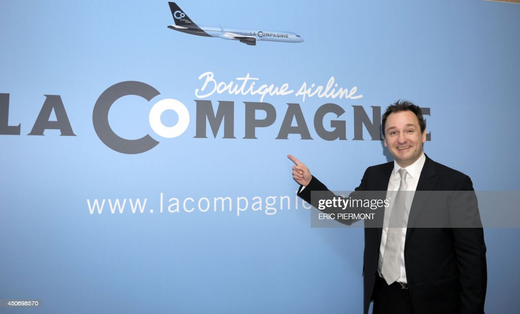 New French airline LaCompagnie Chairman Frantz Yvelin poses during a press conference in Paris on June 16, 2014 to present the new Paris-New York business class airline.