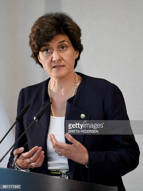 New French Defence Minister Sylvie Goulard addresses a press conference with her German counterpart at the Defence Ministry in Berlin on June 1 2017...
