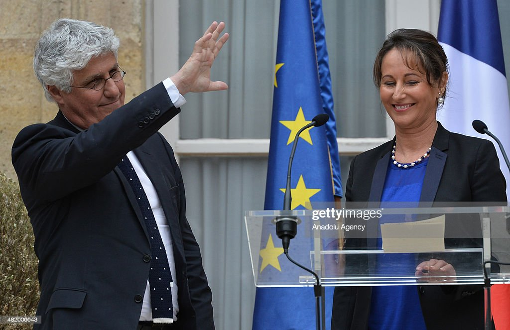 New French Environment and Ecology Minister Segolene Royal (R) and outgoing Environment and Ecology Minister <a gi-track='captionPersonalityLinkClicked' href=/galleries/search?phrase=Philippe+Martin+-+Pol%C3%ADtico&family=editorial&specificpeople=12683642 ng-click='$event.stopPropagation()'>Philippe Martin</a> (L) attend the handover ceremony at the Ministry of Ecology in Paris, France, 02 April 2014. The new 16 new cabinet ministers, including Segolene Royal, President Hollande's ex-partner and mother of his four children, were announced following a two-hour meeting at the Elysee Palace between Hollande and his new Prime Minister, Manuel Valls.