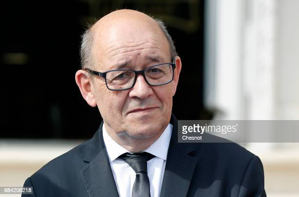 New French Minister of Foreign Affairs and International Development JeanYves Le Drian attends an official handover ceremony at the French Foreign...