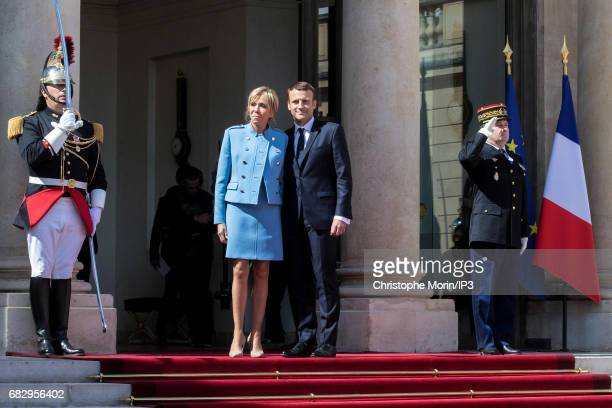 New French President elected Emmanuel Macron and his wife the First Lady Brigitte Trogneux attend a formal ceremony as part of the transfer of power...