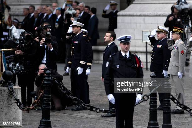 New French President elected Emmanuel Macron attends a tribute ceremony of the Unknown Soldier under the Triumph Arc on May 14 2017 in Paris France...
