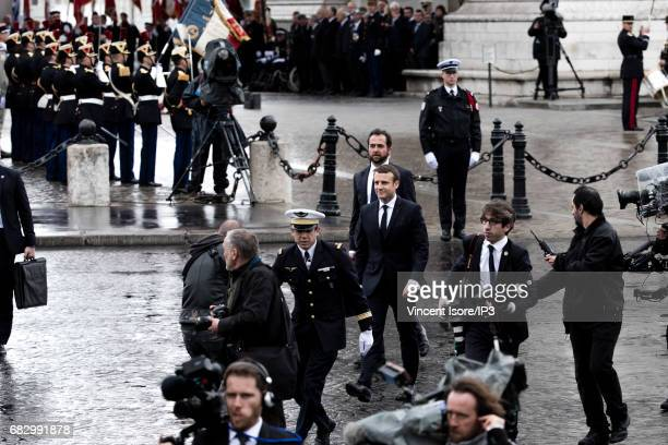 New French President elected Emmanuel Macron leaves after attending a tribute ceremony of the Unknown Soldier under the Triumph Arc on May 14 2017 in...