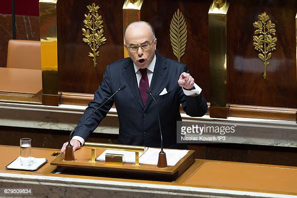 New French Prime Minister Bernard Cazeneuve gives a speech on general government policy for the coming months in front of the Deputies at the...