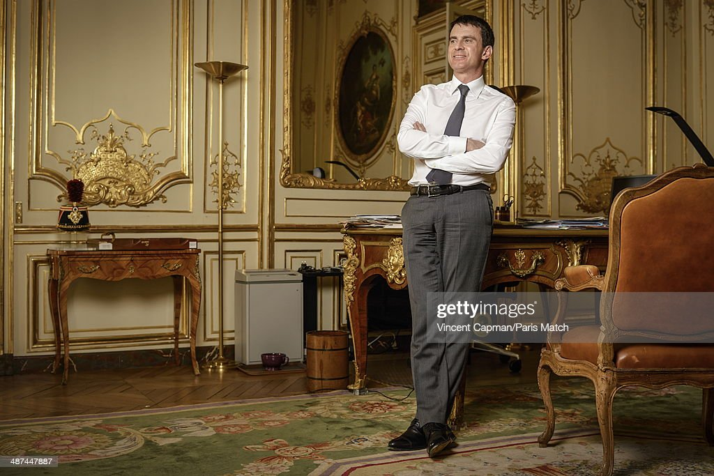 New French Prime Minister, Manuel Valls is photographed for Paris Match in the Hotel Matignon on April 05, 2014 in Paris, France.