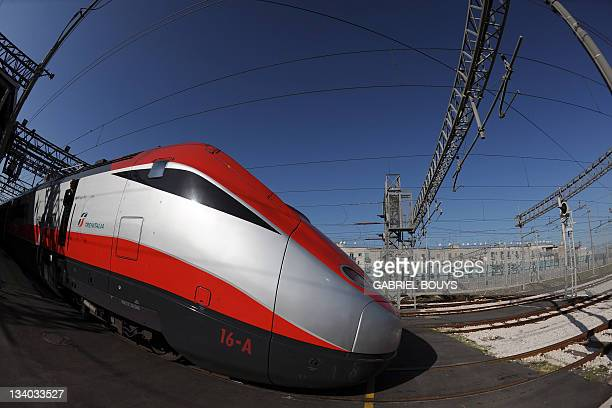 A new Fressia Rossa highspeed train is displayed on November 24 2011 at the Freccia Rossa workshop in Naples The new Freccia Rossa with four...