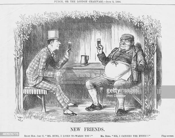 'New Friends' 1888 Joseph Chamberlain on the left raises a toast to Mr Bung With the franchise being ever extended a politician must always be on the...