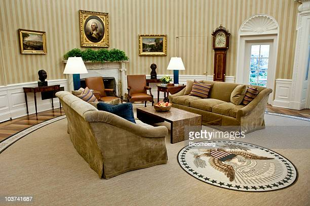 New furniture sits in the Oval Office at the White House in Washington DC US on Tuesday Aug 31 2010 US President Barack Obama tonight will give the...
