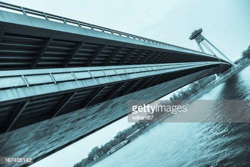 New Futuristic Bridge in Bratislava : Stock Photo