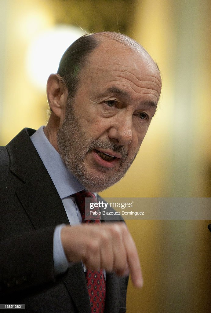 New General Secretary of the main opposition party the Spanish Socialist Workers' Party Alfredo Perez Rubalcaba replys to Spain's Prime Minister...
