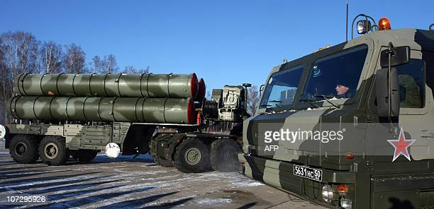 A new generation air defence system S400 Triumf also known as a SA21 Growler moves during exercises at the antiaircraft defence military unit near...