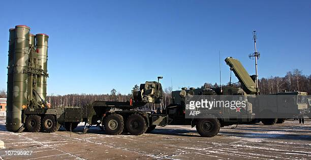 A new generation air defence system S400 Triumf also known as a SA21 Growler is pictured during exercises at the antiaircraft defence military unit...