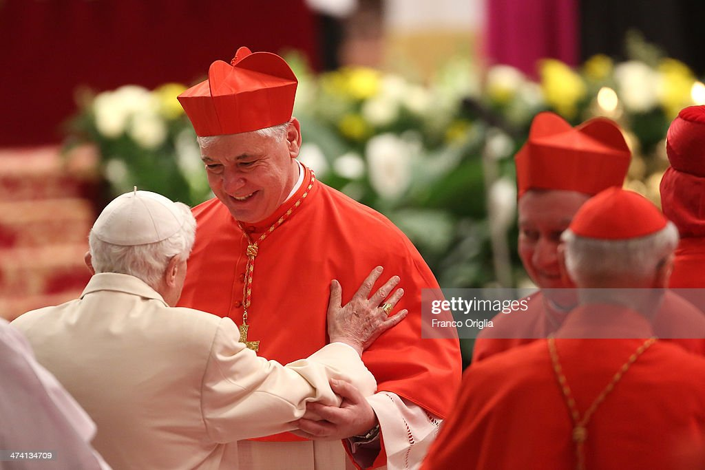 New German Cardinal, Gerhard Ludwig Muller is met by Pope Emeritus Benedict XVI in St Peter's Basilica after attending the Consistory on February 22, 2014 in Vatican City, Vatican. 19 new cardinals have been created in a ceremony in the Vatican.