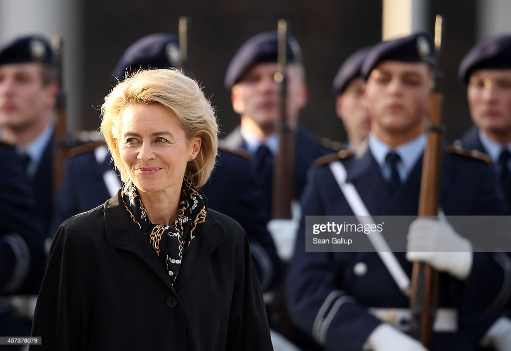 New German Defense Minister <a gi-track='captionPersonalityLinkClicked' href=/galleries/search?phrase=Ursula+von+der+Leyen&family=editorial&specificpeople=4249207 ng-click='$event.stopPropagation()'>Ursula von der Leyen</a> reviews soldiers of the Bundeswehr shortly after she took office at the Defense Ministry on the day the new German government was sworn in on December 17, 2013 in Berlin, Germany. The new government is a coalition between the German Christian Democrats (CDU), the Bavarian Christian Democrats (CSU) and German Social Democrats (SPD) following federal elections held in September.