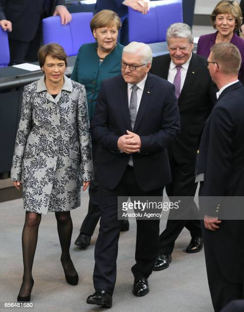 New German President FrankWalter Steinmeier and and his wife Elke Buedenbender are seen after his swearingin ceremony at Bundestag on March 22 2017...