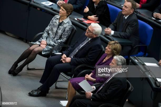 New German President FrankWalter Steinmeier his wife Elke Buedenbender former President Joachim Gauck and his partner Daniela Schadt attend the...