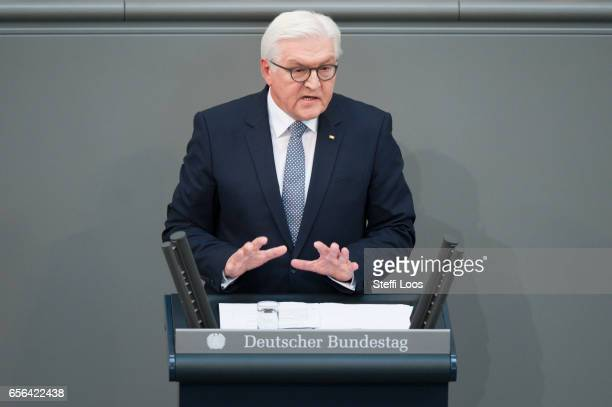 New German President FrankWalter Steinmeier holds a speech after his swearingin ceremony at Bundestag on March 22 2017 in Berlin Germany Steinmeier...