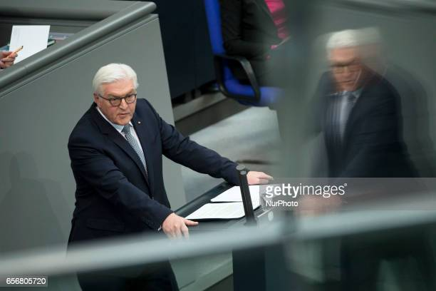 New German President FrankWalter Steinmeier holds a speech after swearing his oath during a common session of the Bundestag and the Bundesrat at the...