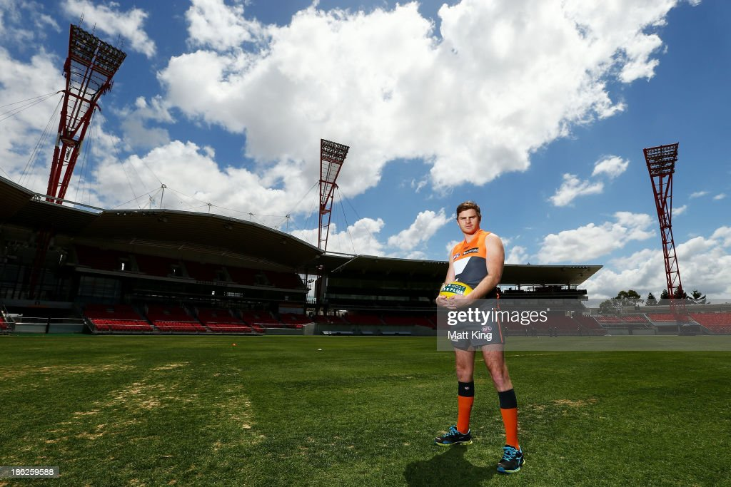 New Giants signing Heath Shaw poses during a Greater Western Sydney Giants AFL media session at Giants Stadium on October 30 2013 in Sydney Australia