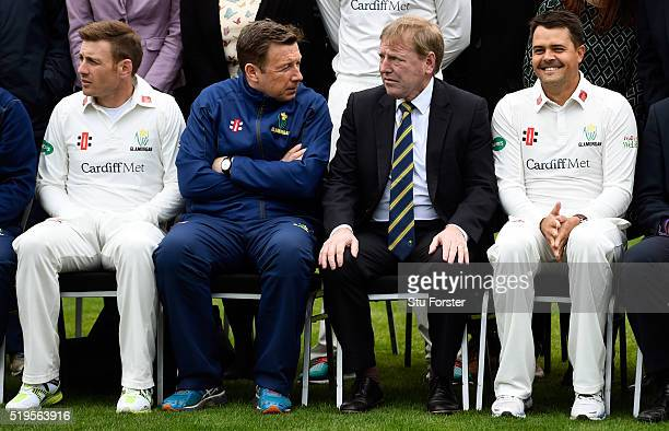 New Glamorgan head coach Robert Croft chats to chief executive Hugh Morris whilst players Jacques Rudolph and Mark Wallace look on during the 2016...