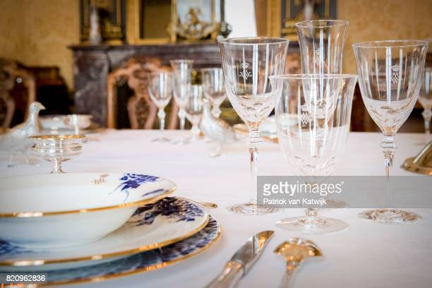 New glasses of King WillemAlexander and Queen Maxima of The Netherlands made of Delfts Blue work by De Porceleyne Fles in Palace Noordeinde on July...