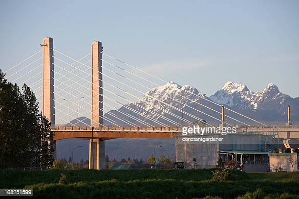 New Golden Ears Bridge With Snowcapped Mountains