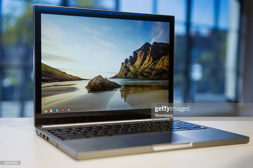 A new Google Inc. Chromebook Pixel laptop is displayed for a photograph during a launch event in San Francisco, California, U.S., on Thursday, Feb. 21, 2013. Google Inc., owner of the world's most popular search engine, debuted a touchscreen version of the Chromebook laptop, stepping up its challenge to Microsoft Corp. and Apple Inc. in hardware. Photographer: David Paul Morris/Bloomberg via Getty Images