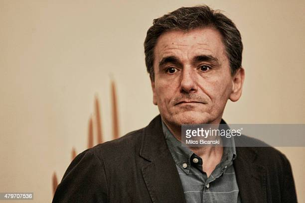 New Greek Finance Minister Euclid Tsakalotos arrives at the presidential palace for the swearing in ceremony of the new finance minister Euclid...
