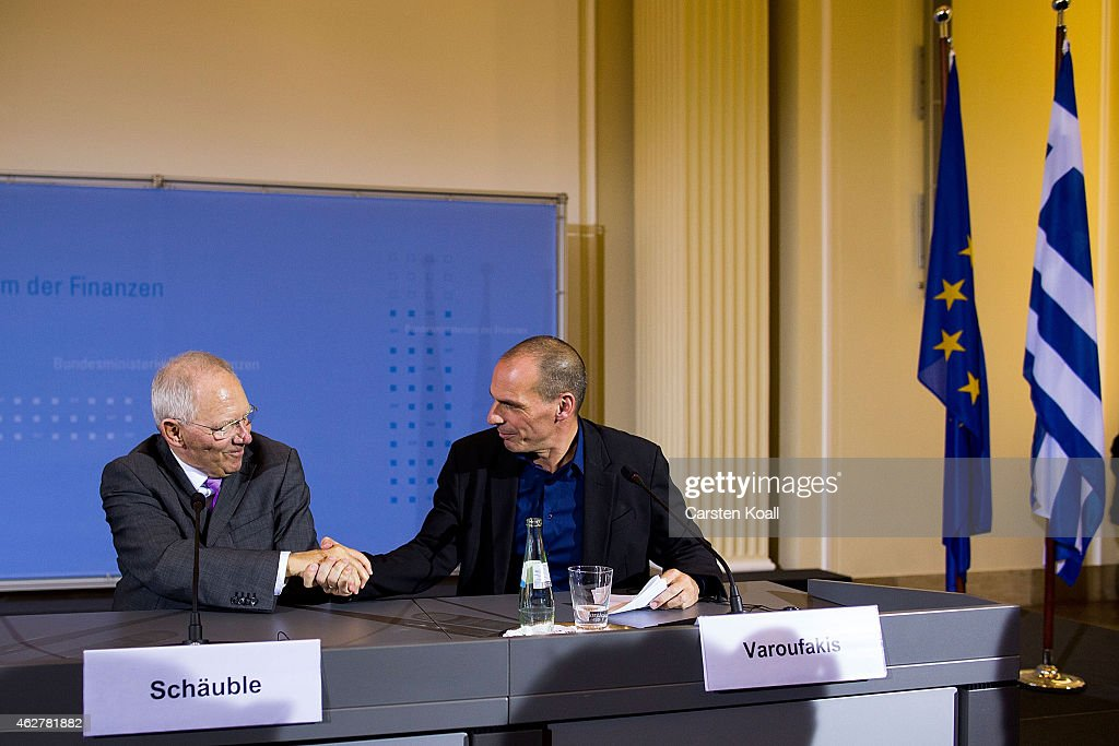 New Greek Finance Minister Yanis Varoufakis and German Finance Minister Wolfgang Schaeuble (L) leave a press conference following talks on February 5, 2015 in Berlin, Germany. Varoufakis is touring several European cities and yesterday met with Mario Draghi at the European Central Bank following announcements by the new Greek government to sharply alter its relationship with the troika of loan-giving entities.