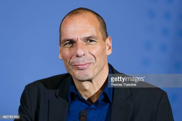 New Greek Finance Minister Yanis Varoufakis speaks to the media following talks with German Finance Minister Wolfgang Schaeuble on February 05 2014...