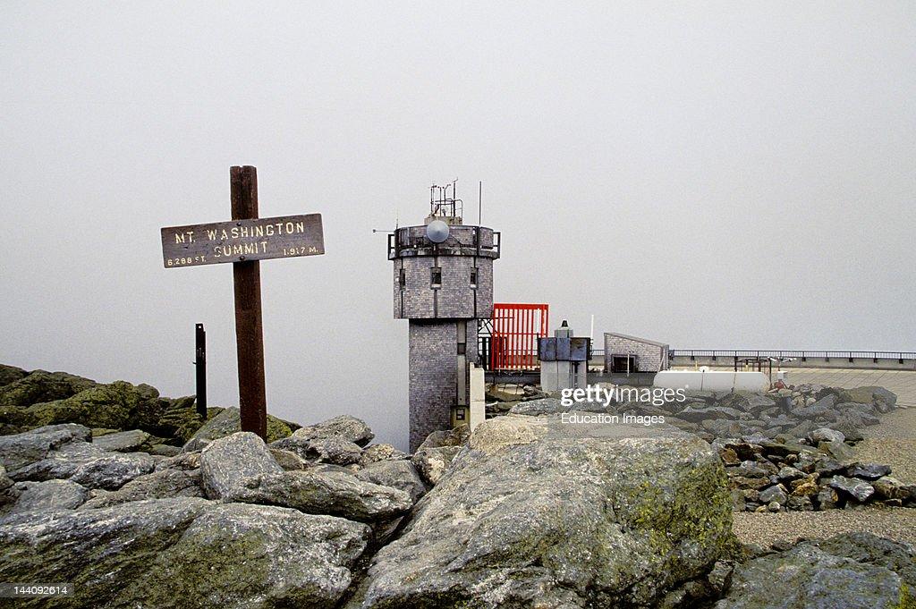New Hampshire Mount Washington Summit Sign And Observatory