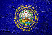 New Hampshire state Flag emblem on metallic texture with displace
