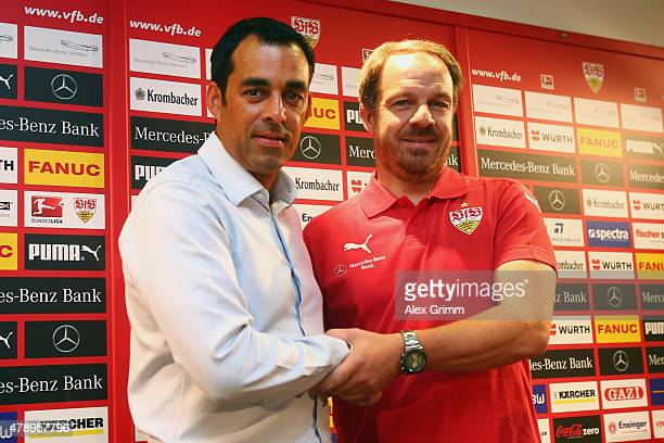 New head coach Alexander Zorniger and manager Robin Dutt pose during a VfB Stuttgart press conference at MercedesBenz Arena on June 29 2015 in...