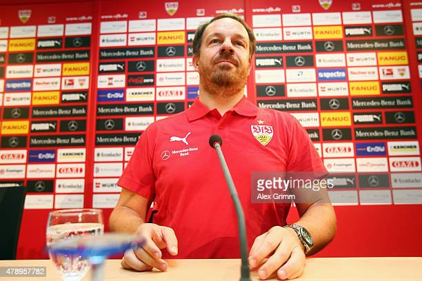 New head coach Alexander Zorniger arrives for a VfB Stuttgart press conference at MercedesBenz Arena on June 29 2015 in Stuttgart Germany