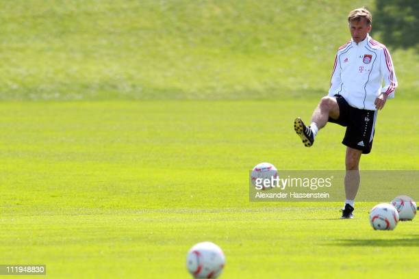 New head coach Andries Jonker kicks a ball during the Bayern Muenchen training session at Bayern's training ground 'Saebener Strasse' on April 10...