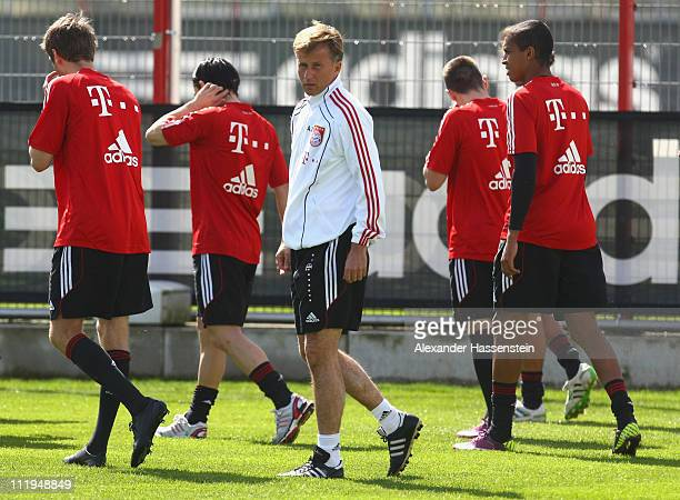 New head coach Andries Jonker looks on during the Bayern Muenchen training session at Bayern's training ground 'Saebener Strasse' on April 10 2011 in...