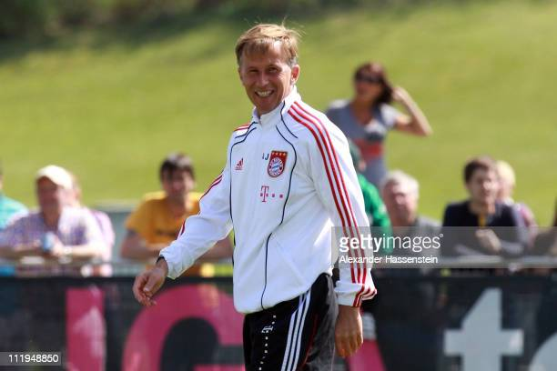 New head coach Andries Jonker smiles during the Bayern Muenchen training session at Bayern's training ground 'Saebener Strasse' on April 10 2011 in...