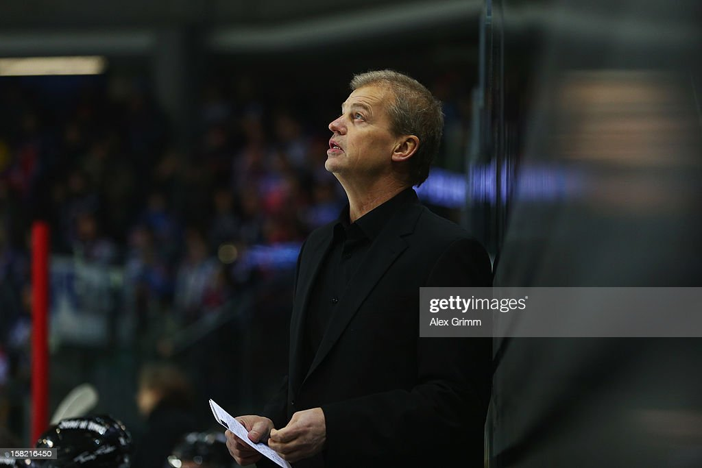 New head coach BengtAke Gustafsson of Ice Tigers looks up during the DEL match between Thomas Sabo Ice Tigers and Straubing Tigers at Arena...