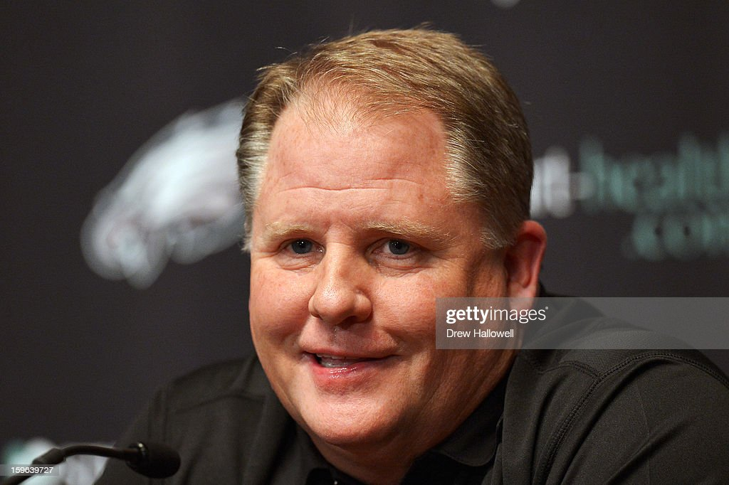 New head coach <a gi-track='captionPersonalityLinkClicked' href=/galleries/search?phrase=Chip+Kelly&family=editorial&specificpeople=6161242 ng-click='$event.stopPropagation()'>Chip Kelly</a> of the Philadelphia Eagles addresses the media at the NovaCare Complex on January 17, 2013 in Philadelphia, Pennsylvania.