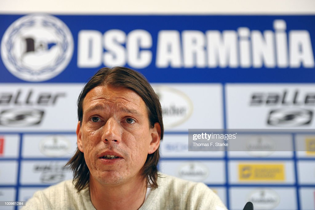 New head coach Christian Ziege talks during the press conference of Second Bundesliga club Arminia Bielefeld at the Schueco Arena on May 26 2010 in...