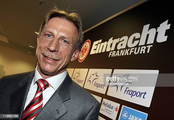 New head coach Christoph Daum poses after a press conference at the Commerzbank Arena on March 23 2011 in Frankfurt am Main Germany Christoph Daum...