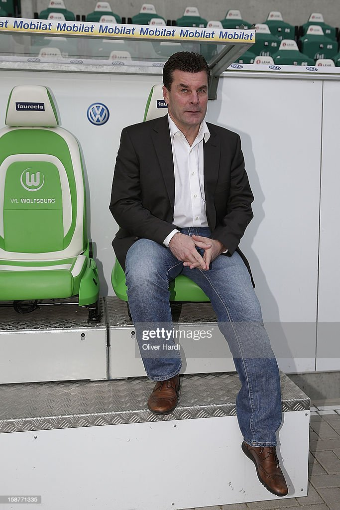 New head coach Dieter Hecking of VfL Wolfsburg attends a press conference at Volkswagen Arena on December 28, 2012 in Wolfsburg, Germany.