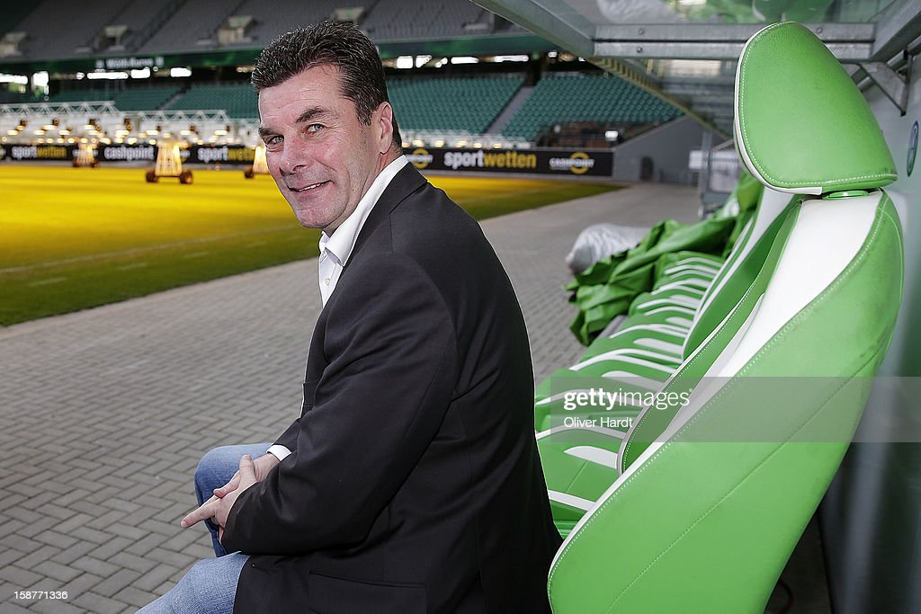 New head coach <a gi-track='captionPersonalityLinkClicked' href=/galleries/search?phrase=Dieter+Hecking&family=editorial&specificpeople=535775 ng-click='$event.stopPropagation()'>Dieter Hecking</a> of VfL Wolfsburg attends a press conference at Volkswagen Arena on December 28, 2012 in Wolfsburg, Germany.