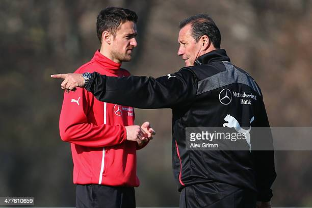 New head coach Huub Stevens and Christian Gentner of Stuttgart attend a training session at the club's training ground on March 10 2014 in Stuttgart...