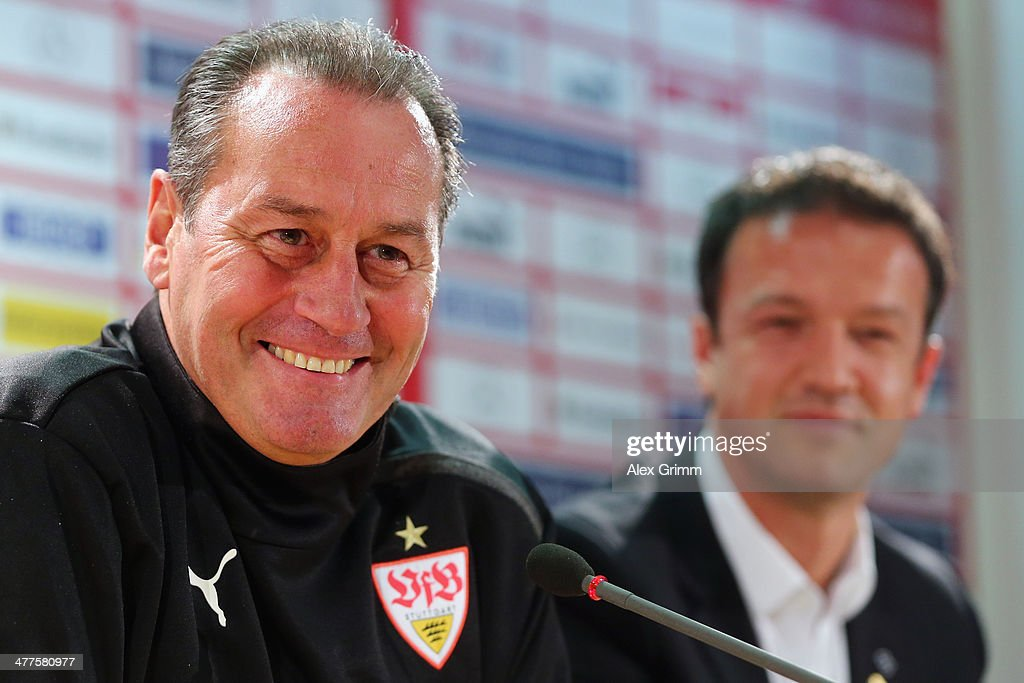New head coach <a gi-track='captionPersonalityLinkClicked' href=/galleries/search?phrase=Huub+Stevens&family=editorial&specificpeople=2380209 ng-click='$event.stopPropagation()'>Huub Stevens</a> of Stuttgart is presented during a press conference at Mercedes-Benz Arena on March 10, 2014 in Stuttgart, Germany.
