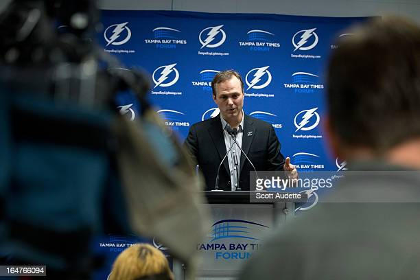 New head coach Jon Cooper of the Tampa Bay Lightning at a press conference before the game against the Buffalo Sabres at the Tampa Bay Times Forum on...