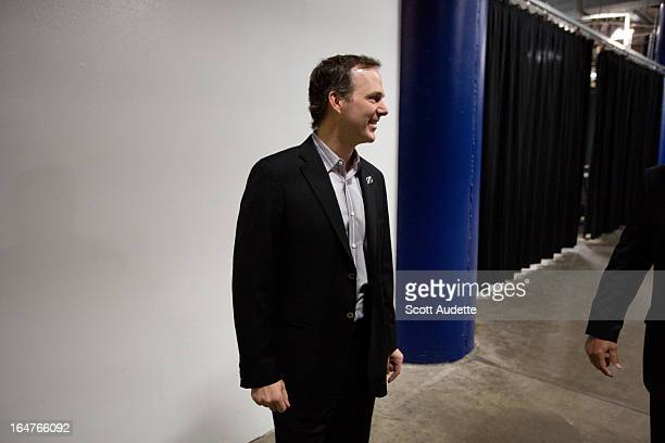 New head coach Jon Cooper of the Tampa Bay Lightning speaks at a press conference before the game against the Buffalo Sabres at the Tampa Bay Times...
