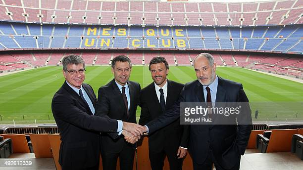 New head coach Luis Enrique of FC Barcelona poses for a photo with Vicepresident Sports Area Jordi Mestre President of FC Barcelona Josep Maria...